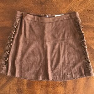 Jolt faux suede country brown mini skirt NWOT